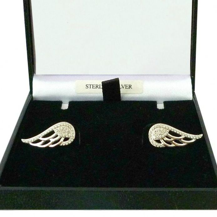 Angel Wing Earrings, Sterling Silver with CZ Crystals | Someone Remembered